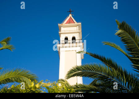 Zakynthos Town, Zakynthos, Ionian Islands, Greece. Bell-tower of the Cathedral of Agios Dionysios. - Stock Photo