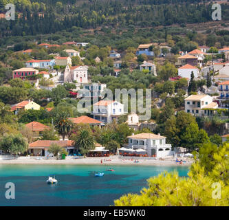 Asos, Kefalonia, Ionian Islands, Greece. View across picturesque harbour to the village and beach. - Stock Photo