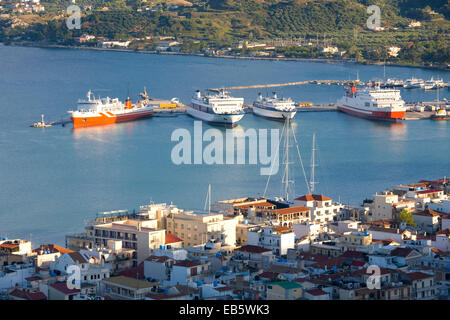 Zakynthos Town, Zakynthos, Ionian Islands, Greece. View from Bochali over city rooftops to the harbour. - Stock Photo