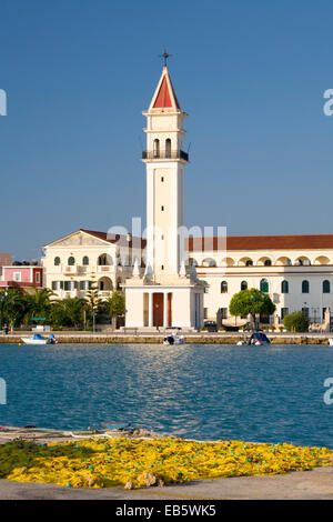 Zakynthos Town, Zakynthos, Ionian Islands, Greece. View across harbour to bell-tower of the Cathedral of Agios Dionysios. - Stock Photo