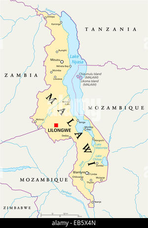 Malawi Political Map with capital Lilongwe, national borders, important cities, rivers and lakes. English labeling - Stock Photo