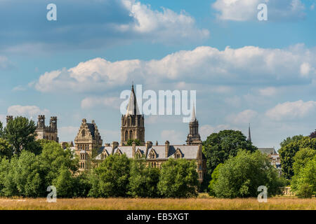 The spires and towers of Oxford including Christ Church Colege and Lincoln College library from across Christ Church - Stock Photo