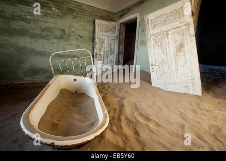 Bathtub in Kolmanskop Ghost Town - Luderitz, Namibia, Africa - Stock Photo