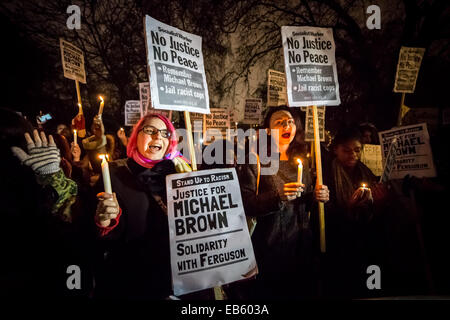 Justice For Michael Brown. Around 200 protesters and supporters from Black Lives Matter and Stand Up To Racism gather - Stock Photo