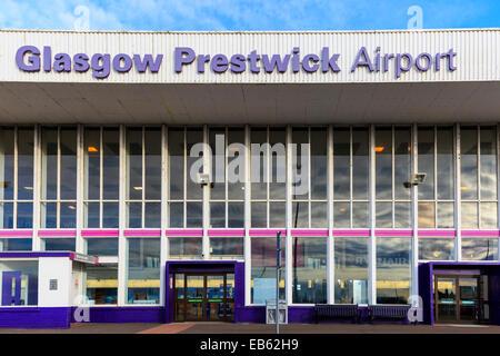 Frnt entrance to Glasgow Prestwick Airport, Prestwick, Ayrshire, Scotland, UK - Stock Photo