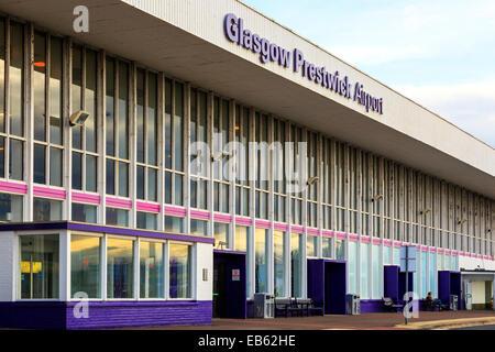 Front entrance to Glasgow Prestwick Airport, Prestwick, Ayrshire, Scotland, UK - Stock Photo