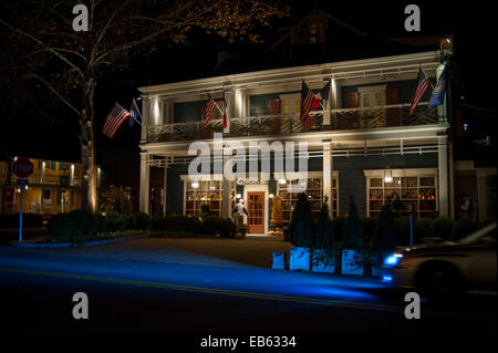 USA Virginia VA Washington Inn at Little Washington a Relais and Chateaux hotel property exterior at night - Stock Photo