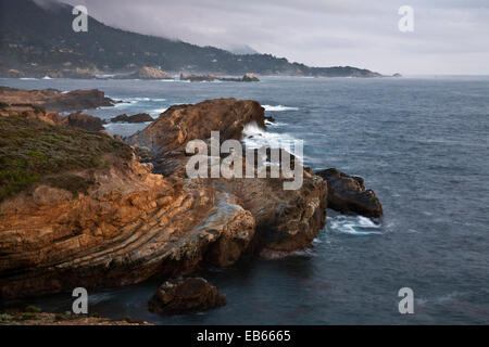 CA02428-00...CALIFORNIA - Colorful sandstone along the the shores of the Pacific Ocean from Point Lobos State Reserve. - Stock Photo