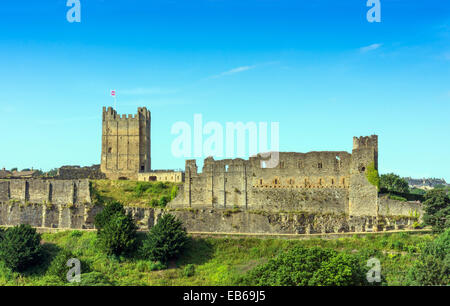 Richmond Castle with keep, Norman, North Yorkshire - Stock Photo