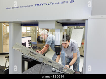 The SAT team calibrating three-dimensional machine Calibration CMM Coordinate Measuring Machine Innovative Metrology - Stock Photo