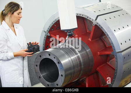 Technical measuring wind component in three-dimensional machine. CMM. Coordinate Measuring Machine. Innovative Metrology - Stock Photo