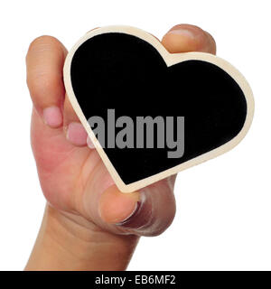 someone holding a heart-shaped blackboard in his hand a white background - Stock Photo