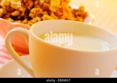 closeup of a cup with milk and a bowl with muesli on a set table - Stock Photo