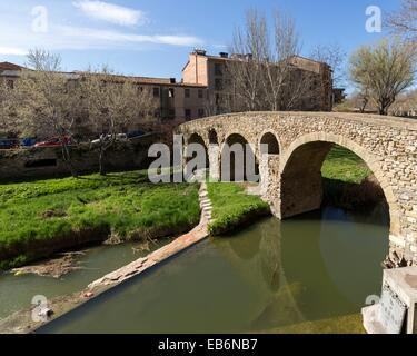 Vic, Old town and Roman bridge, Osona, Barcelona, Spain - Stock Photo