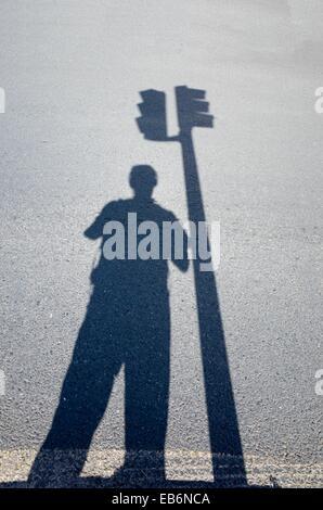 Shadow and traffic light, Valencia, Spain - Stock Photo