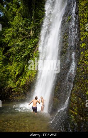 Kaeng Nyui Waterfalls in Vang Vieng, Laos. - Stock Photo