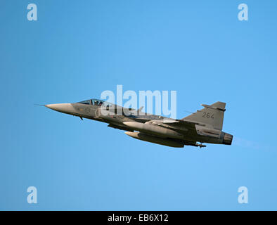 Swedish Air Force JAS 39D Gripens on exercise over RAF Lossiemouth Scotland.  SCO 9191. - Stock Photo