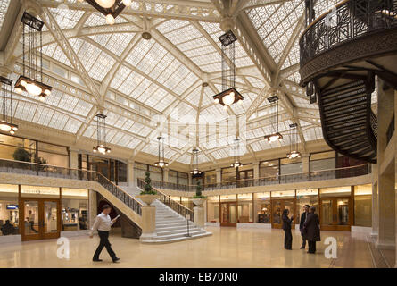 Atrium of the Rookery, (Burnham & Root, 1888 = architect); re-hab by Frank Lloyd Wright), LaSalle St., Chicago, - Stock Photo
