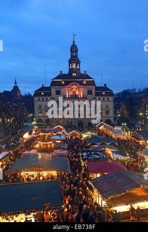 Christmas Market, Town hall, Lueneburg, Lower Saxonia, Germany, Europe - Stock Photo