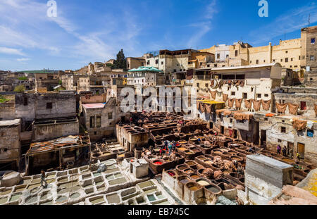 TANNERY SCENE FES FEZ MOROCCO AFRICA - Stock Photo