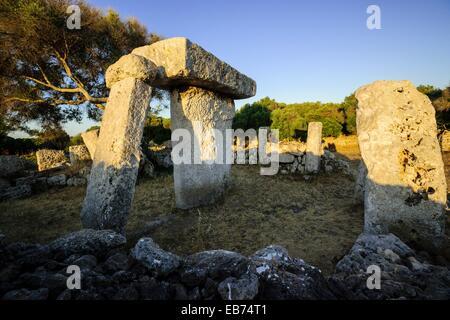 Taula sanctuary, prehistoric town of Talatí de Dalt, 1300 B.C, Mahon Menorca, Balearic Islands, Spain - Stock Photo