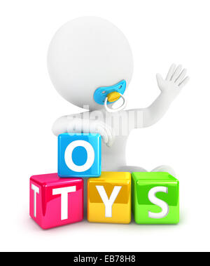 3d white people baby toys, isolated white background, 3d image - Stock Photo