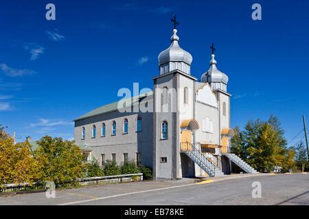 The St. Mary's Ukrainian Catholic Church in Flin Flon, Manitoba, Canada. - Stock Photo
