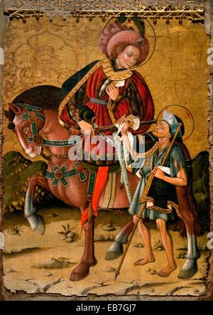 Saint Martin Sharing his Cloak by Blasco de Grañén Documented in Zaragoza, 1422-1459 Spain Spanish Medieval Gothic - Stock Photo