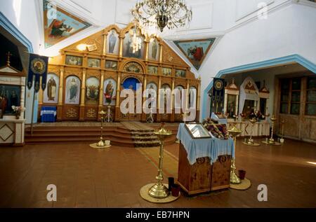 Karakol; inside of a Orthodox Church; Altar; Kyrgyzstan. - Stock Photo