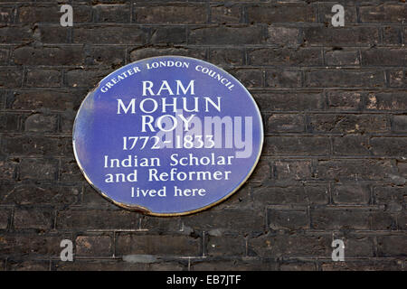 Ram Mohum Roy Indian Scholar and reformer, Blue Plaque by Greater London Council. - Stock Photo