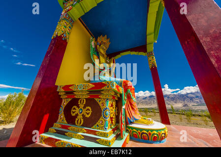 A statue Chamspa the Compassionate One Maitreya (Future Buddha) Stok Monastery Leh Valley Ladakh Jammu and Kashmir - Stock Photo