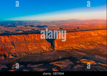 Aerial view Santa Elena Canyon in Big Bend National Park Texas USA Mexico is on the left side the canyon US on right - Stock Photo