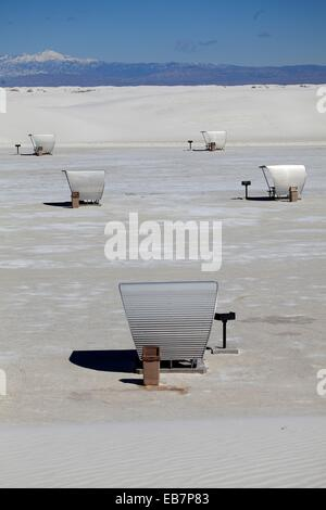 Shaded picnic tables in the picnic area in White Sands National Monument. Alamogordo. New Mexico. USA. - Stock Photo