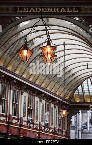 The interior view of Leadenhall Market, London, England, UK - Stock Photo