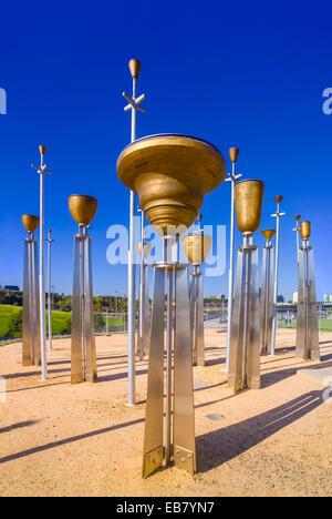 Federation Bells Bronze-alloy bells on galvanised-steel poles, 2002 public art installation, Melbourne, Australia - Stock Photo