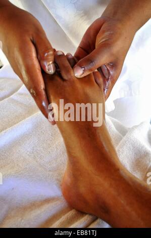 Mauritius, Palmar, foot massage at the spa of the Ambre Hotel - Stock Photo