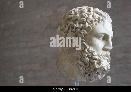 Germany, Bavaria, Munich, Glyptothek Museum, Head from Statue of Heracles, Roman Sculpture about 360 BC. - Stock Photo