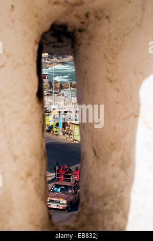 Town scene from gun emplacement, Cape Coast Castle, Cape Coast, Ghana, Africa - Stock Photo