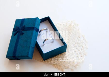 Wedding rings in a box. Close view. - Stock Photo