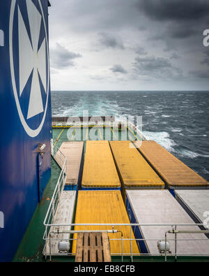 Freight containers on the DFDS freighter Ficaria Seaways, on the route from Immingham to Brevik in Norway and the - Stock Photo