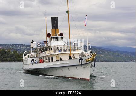 Belle Epoque paddle steamer La Suisse on Leman Lake, Lausanne, Canton of Vaud, Switzerland, Europe. - Stock Photo