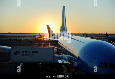 JFK Airport  New York USA November 2014  - Planes preparing for and taking off at John F Kennedy Airport in New - Stock Photo
