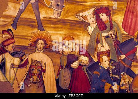 Nine Worthies fresco in the Baronial Hall, Castello della Manta, near Saluzzo, Piedmont region, Italy, Europe - Stock Photo