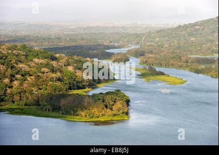 aerial view over the Chagres River in Sobenia National Park from the watching tower the Gamboa Resort Republic Panama - Stock Photo