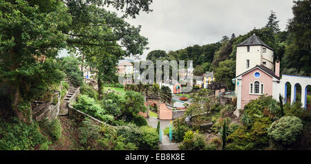 panoramic of portmerion north wales - Stock Photo