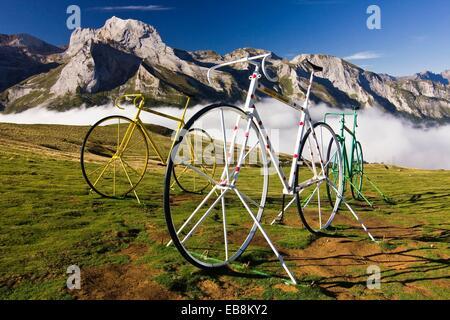 Bicycle Sculptures at the Col d´Aubisque - Cauterets - Aquitaine - Hautes Pyrenees - France - Europe - Stock Photo