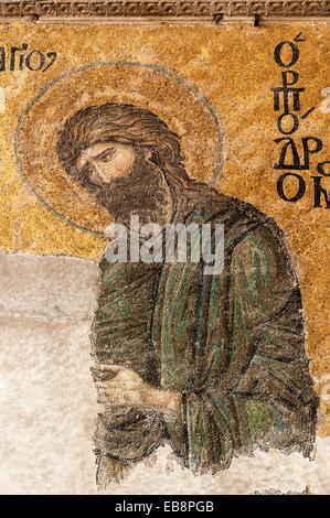 Hagia Sophia Detail of the Deësis Mural mosaic representing Jesus Christ between the Virgin Mary and St John the - Stock Photo