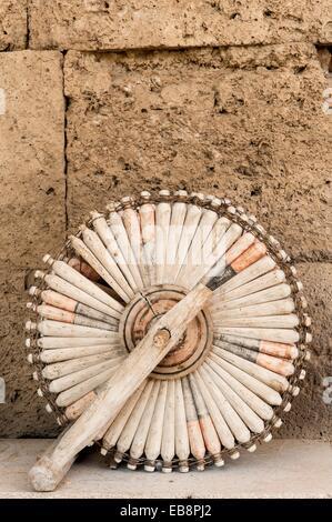 Spinning wheel, Sultanhani caravanserai on the former silk road, Sultanhani, Antolia, Turkey - Stock Photo