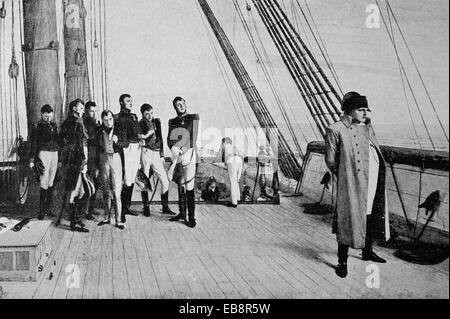 Napoleon on board of Bellerophon - Stock Photo