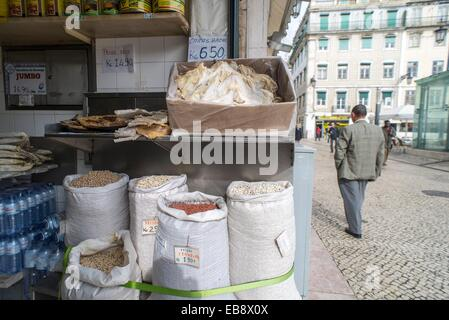 Shop in the street on Baixa, city centre of Lisbon, Portugal. - Stock Photo